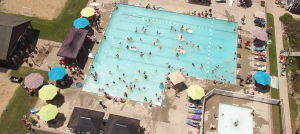 Aerial view of the pool
