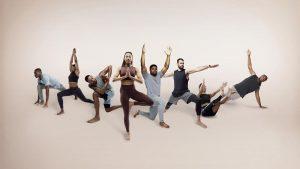 Athletes doing yoga