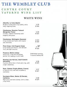 White wine menu