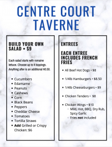 Taverne food menu