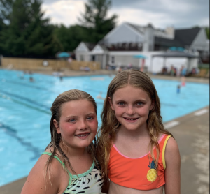 two friends swimming in summer