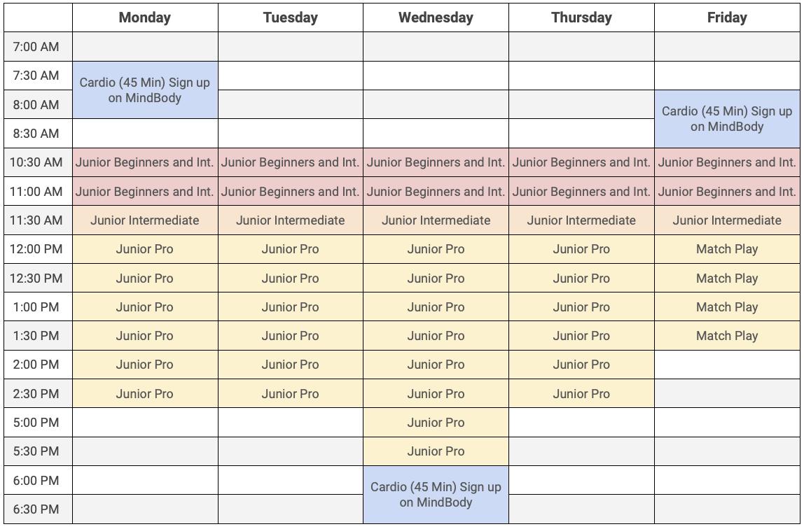 Summer tennis schedule